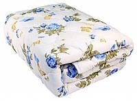 Ковдру з овечої вовни полуторна Лері Макс GOLD сині квіти