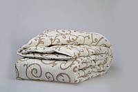 Ковдру з овечої вовни полуторна Лері Макс GOLD кавові вензелі