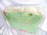 Одеяло полуторное из овечьей шерсти Лери Макс зелёного окраса