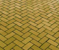 Тротуарная плитка Кирпичик 40, прессованный оливка, Серая основа
