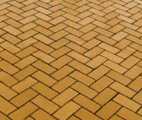 Тротуарная плитка Кирпичик 40, прессованный желтая, Белая основа