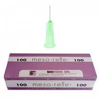Иглы для мезотерапии MESO-RELLE 0.2 x 12 33G x 1/2 '' AM33G зеленые (100 шт.)