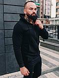 Мужской спортивный костюм весна-осень с капюшоном,цвет черный, фото 3