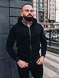 Мужской спортивный костюм весна-осень с капюшоном,цвет черный, фото 4