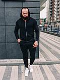 Мужской спортивный костюм весна-осень с капюшоном,цвет черный, фото 5