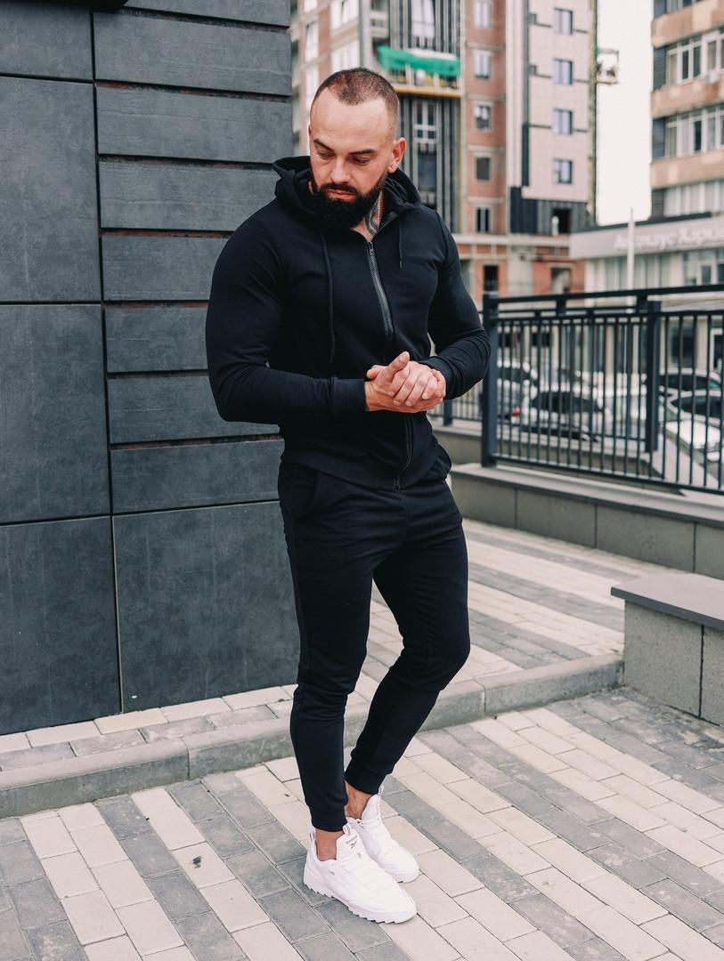 Мужской спортивный костюм весна-осень с капюшоном,цвет черный
