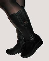 Зимние женские кожаные сапоги на широкую ножку