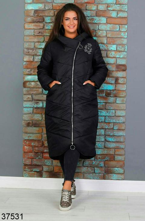 Черное зимнее пальто женское батал Размеры: 52-54, 56-58