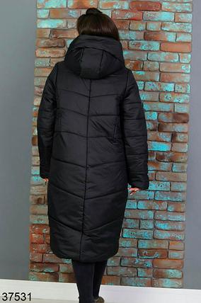 Черное зимнее пальто женское батал Размеры: 52-54, 56-58, фото 2