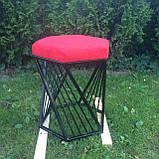 Пуф мягкий каркасный в стиле лофт красный, фото 3