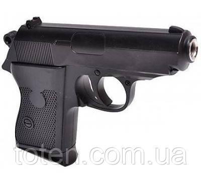 Пистолет металлический ZM02 на пульках (6мм) черный детский
