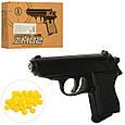 Пистолет металлический ZM02 на пульках (6мм) черный детский, фото 2