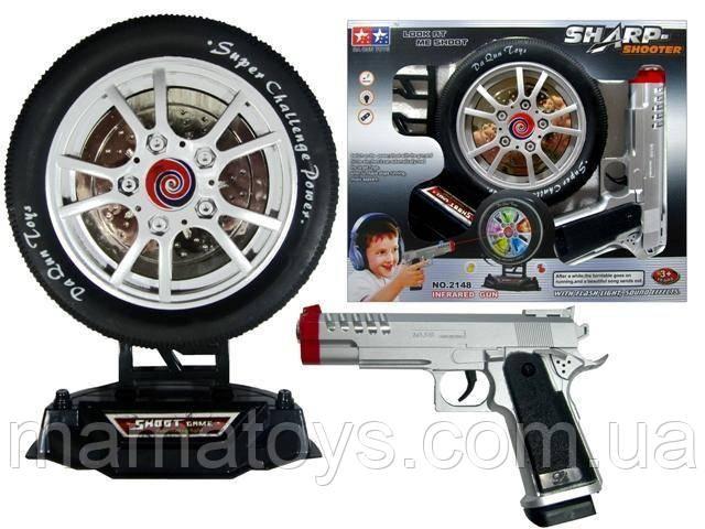 Игрушечный Тир Пистолет 2148 Лазерный с мишенью в виде колеса. Звук, Свет