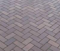 Тротуарная плитка Кирпичик 40, прессованный Серая, Серая основа