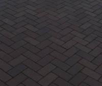 Тротуарная плитка Кирпичик 40, прессованный черная, Белая основа