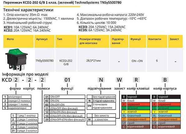 Переключатель KCD2-202 G/B 1 клавиша зеленая TechnoSystems TNSy5500780, фото 2