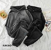 Женский велюровый спортивный костюм с капюшоном , стильный модный черный графит хаки 42-44, 44-46