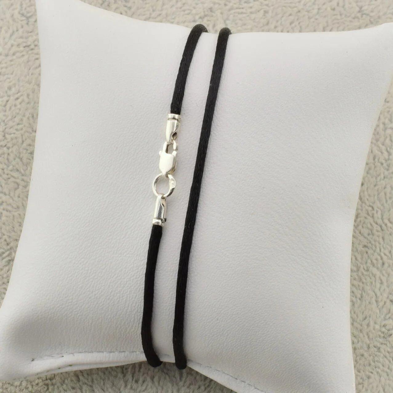 Шнурок шелковый цвет черный длина 30 см ширина 2 мм вес серебра 0.7 г