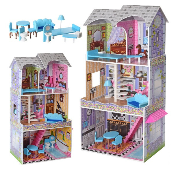 Домик для кукол Барби деревянный с мебелью 3 этажа MD 2412