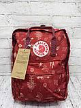 Модный женский рюкзак - сумка красный с рисунками канкен Fjallraven Kanken classic red 16 литров, фото 6