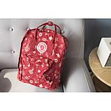 Модный женский рюкзак - сумка красный с рисунками канкен Fjallraven Kanken classic red 16 литров, фото 9