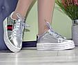 Кроссовки женские демисезонные на высокой ровной платформе silver, фото 5