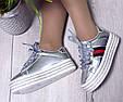 Кроссовки женские демисезонные на высокой ровной платформе silver, фото 8