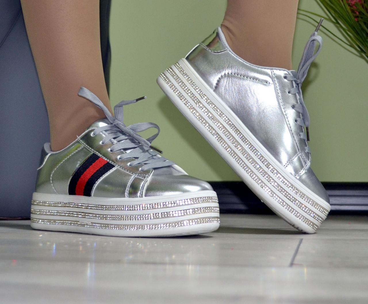 Кроссовки женские демисезонные на высокой ровной платформе silver