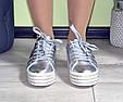 Кроссовки женские демисезонные на высокой ровной платформе silver, фото 6