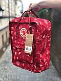 Молодежный рюкзак - сумка канкен Fjallraven Kanken classic red 16 л. красный с принтом, фото 2