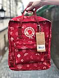 Молодежный рюкзак - сумка канкен Fjallraven Kanken classic red 16 л. красный с принтом, фото 3