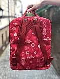 Молодежный рюкзак - сумка канкен Fjallraven Kanken classic red 16 л. красный с принтом, фото 4