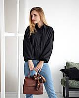 Блуза с объемными рукавами черная