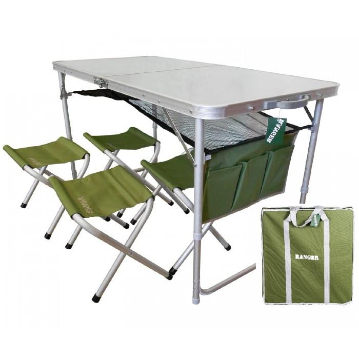 Стол для пикника раскладной с подвесной полкой Ranger + 4 стула + чехол Original (1102)