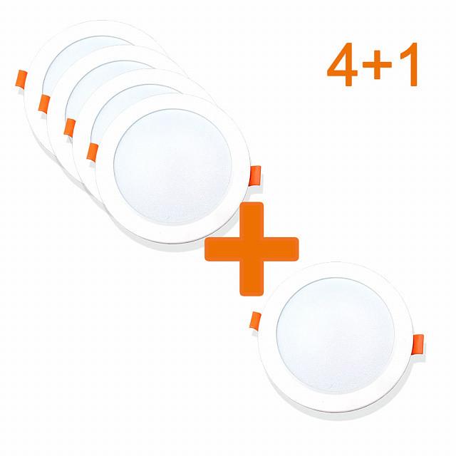 Набор из 4+1 светильников точечных врезных EVROLIGHT 12Вт круг PLAIN-12R 6400К