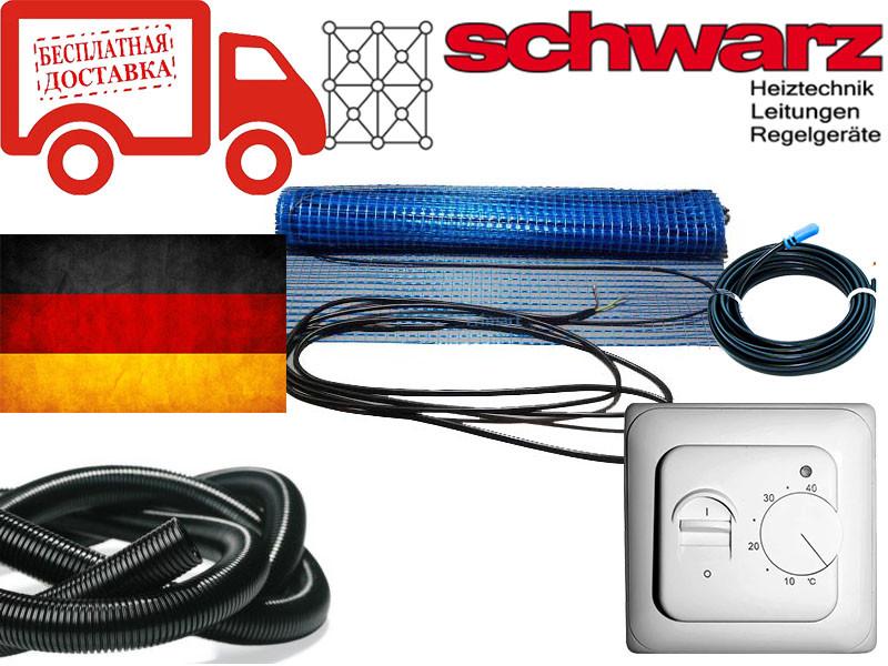 Нагрівальний мат для теплої підлоги Schwarz (Німеччина) 5,5 м. кв. 1000Вт Комплект з терморегулятором