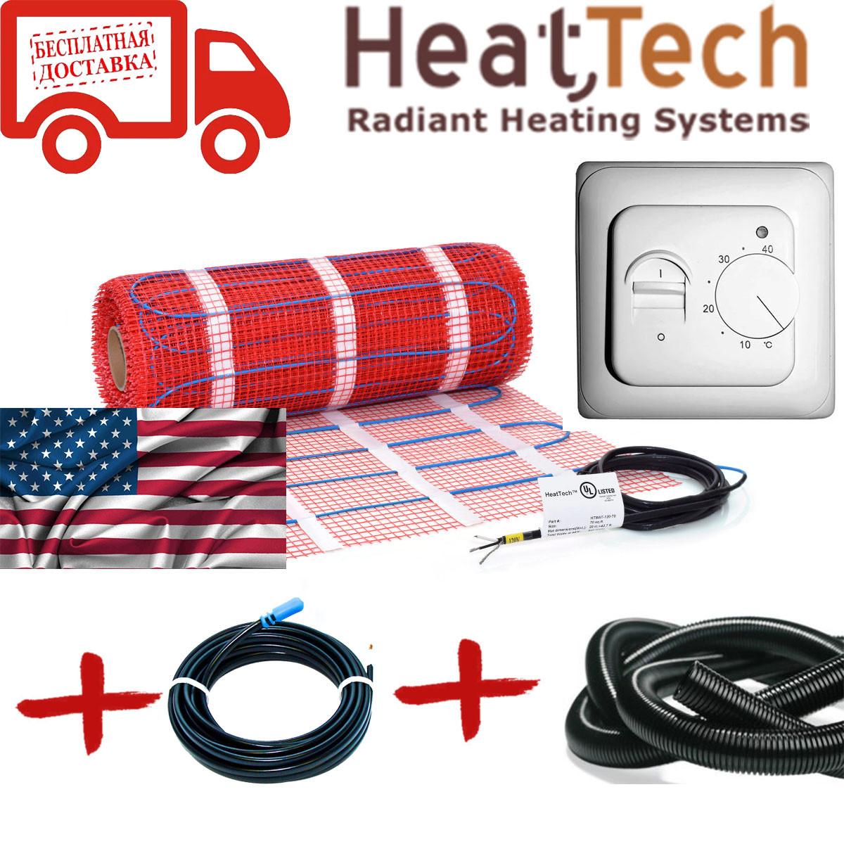 Нагревательный мат для теплого пола HeatTech (США) HTMAT 1600 Вт 8,0м.кв. Комплект с терморегулятором