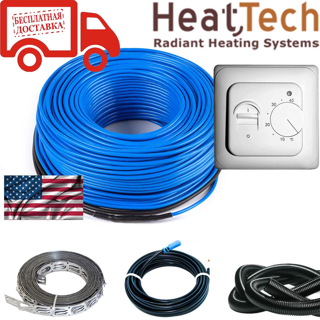 Нагревательный кабель для теплого пола HeatTech (США) HTCBL 600 Вт 30м. Комплект с терморегулятором