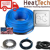 Нагревательный кабель для теплого пола HeatTech (США) HTCBL 600 Вт 30м. Комплект с терморегулятором, фото 1