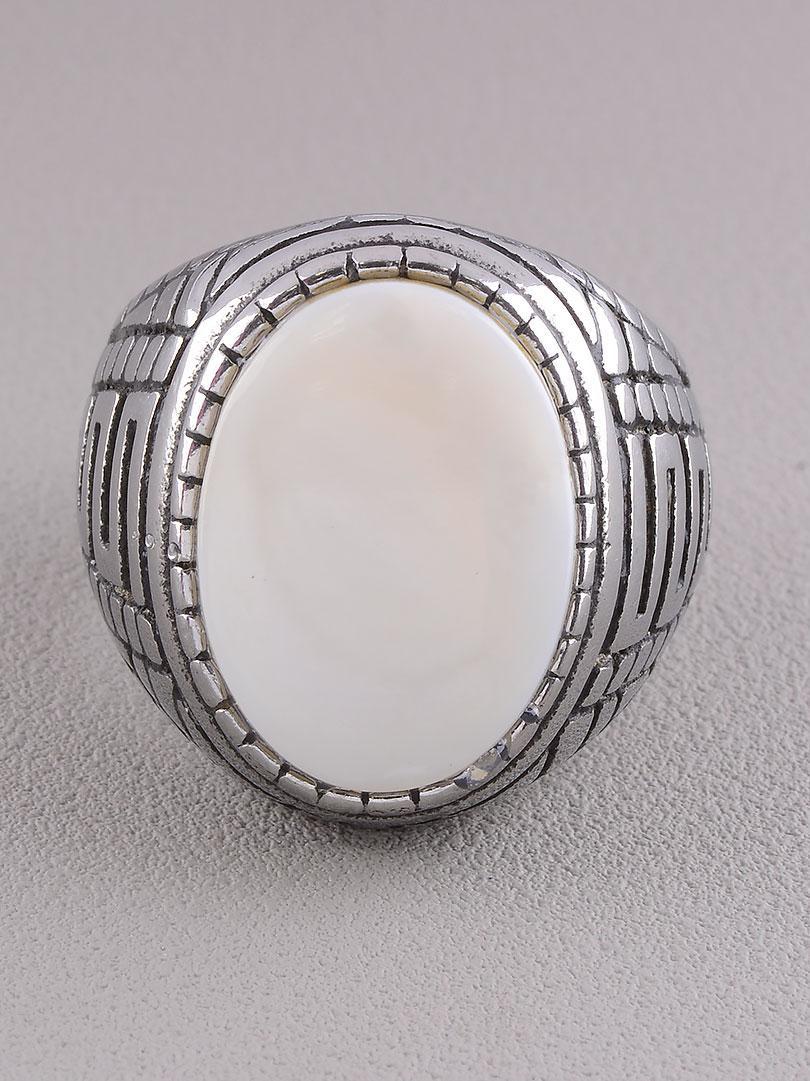 Кольцо на палец  'Stainless Steel' Перламутр Медицинская сталь 316L24,3 г