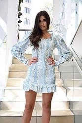 Платье в мелкий цветочек с длинным рукавом
