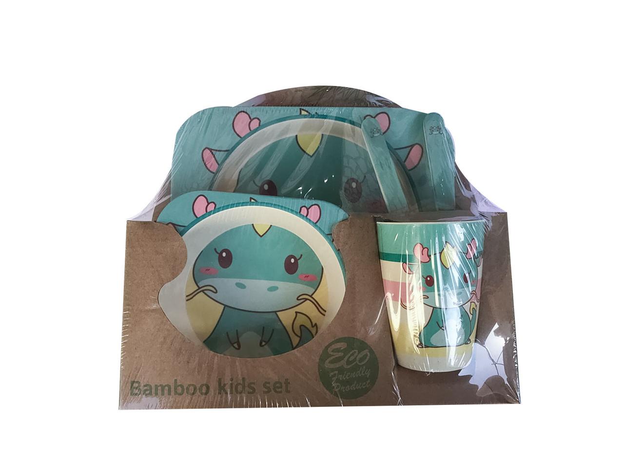 Набір дитячого посуду 5 предметів з бамбука Дракончик