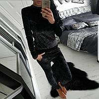Спортивный костюм женский с карманами из мраморного велюра пудра серый бордовый 42 44 46 48 50 Р