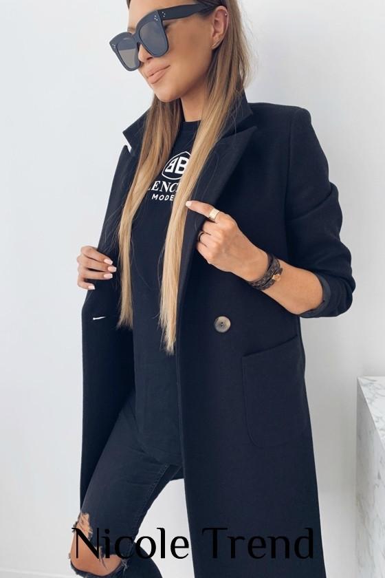 Женское пальто, турецкий плотный кашемир, р-р 42-44; 44-46 (чёрный)