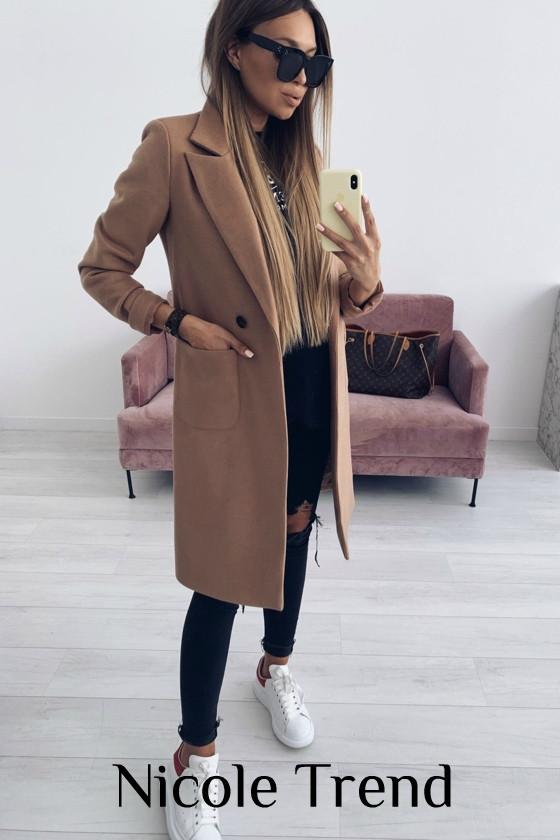 Женское пальто, турецкий плотный кашемир, р-р 42-44; 44-46 (кэмел)