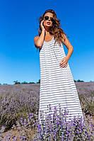 Женский стильный длинный сарафан в полоску с открытой спиной Батал, фото 1
