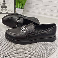 Женские черные кожаные туфли без каблука