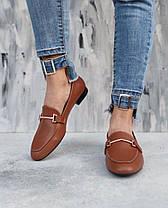 Туфлі лофери жіночі з пряжкою рудого кольору з натуральної Шкіри на низькому каблуці розміри 36-41, фото 2