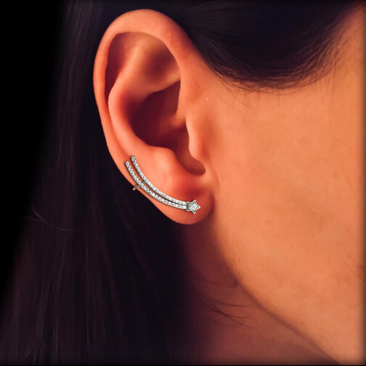 Серебряная серьга клаймбер на одно ухо