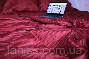 Двухспальный набор постельного белья из страйп-сатина, 100% хлопок, цвет бордо